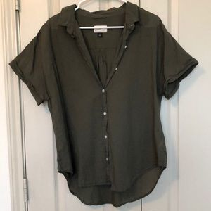 Dark green button down short sleeve shirt